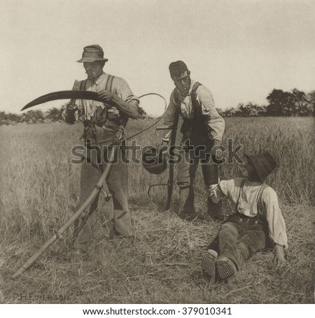 Farmworkers during the Barley Harvest in Suffolk, by Peter Henry Emerson, c. 1883-87, East Anglia, England - stock photo