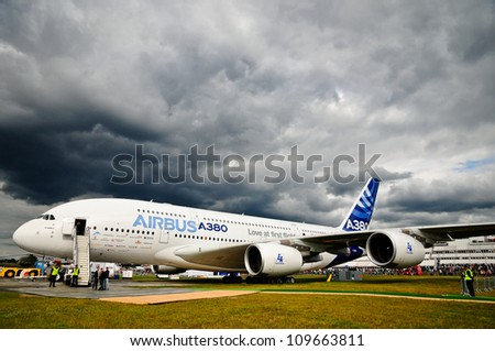 FARNBOROUGH, UK - JULY 15: Airbus A380 on ground displayed for public at the Farnborough airshow. July 15 2012, Farnborough, Hampshire, UK. - stock photo