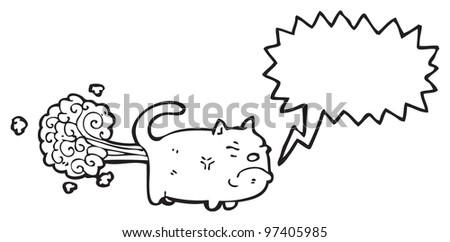 farting cat cartoon - stock photo