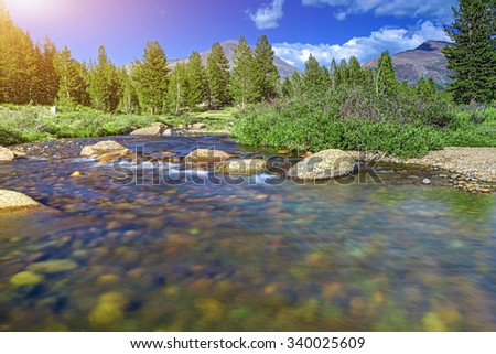 Fascinating View of Water Streams In Unique Yosemite National Park in California, United States. Horizontal Image - stock photo