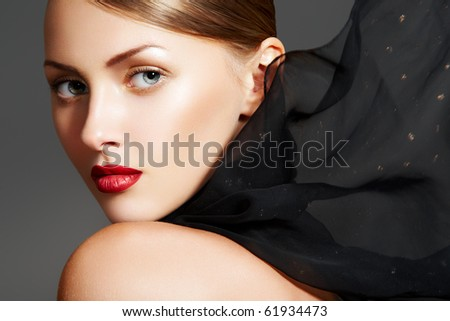 Fashion accessories. Model with chic lips make-up - stock photo