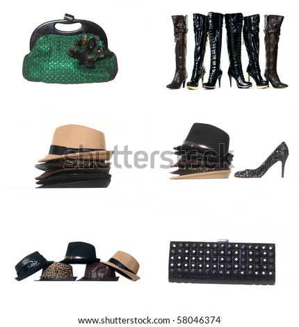 Fashion accessory collage - stock photo