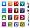Fashion & Apparels Sticker Icons isolated over white background - sticker series - stock photo