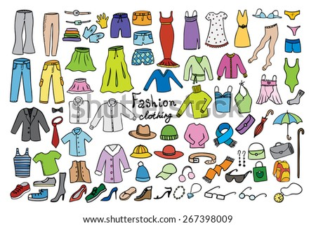 fashion and clothing color icons collection - stock photo