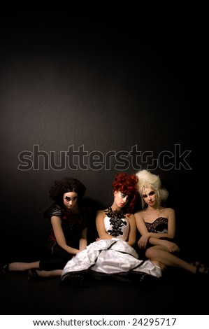 Fashion and makeup shoot, photographed in the studio. - stock photo