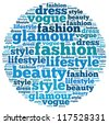 Fashion and style info-text graphics and arrangement concept on white background (word cloud) - stock vector