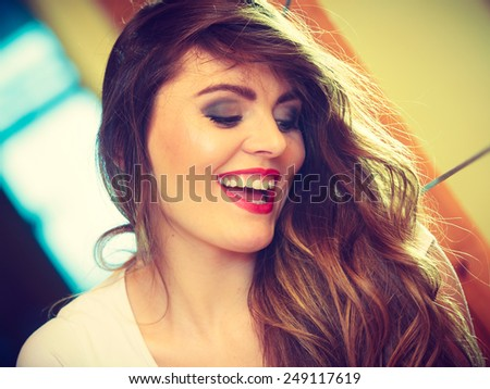 Fashion and young people concept - Smiling teen girl portrait, beautiful young woman long hair makeup indoor