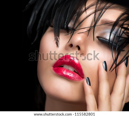 Fashion Art Girl Portrait.Vivid Makeup.Make-up - stock photo