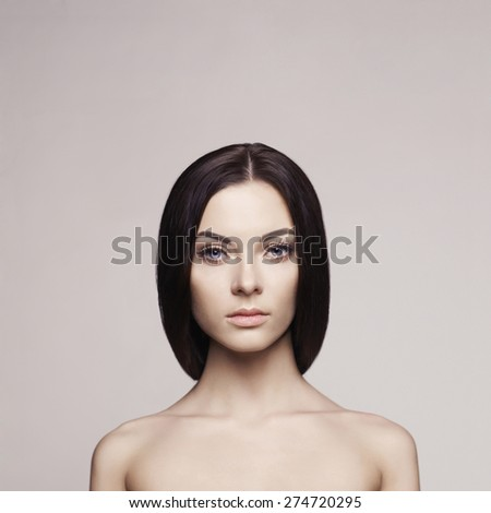 Fashion art photo of beautiful brunette lady. Health and beauty - stock photo