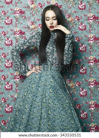 Fashion art photo of beautiful elegant lady on floral background. Spring-Summer  - stock photo