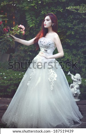 Fashion art photo of beautiful lady doll . Retro style - stock photo