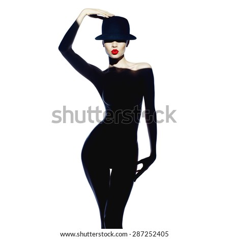 Fashion art photo of beautiful lady with gorgeous body - stock photo
