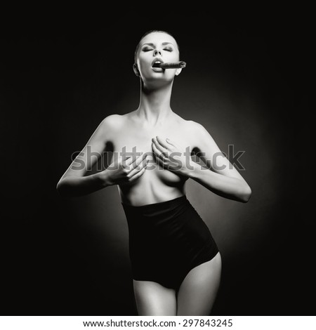 Fashion art photo of beautiful smokes lady with gorgeous body - stock photo