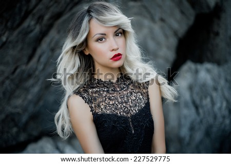 Fashion art photo of beautiful woman with red lipstick - stock photo