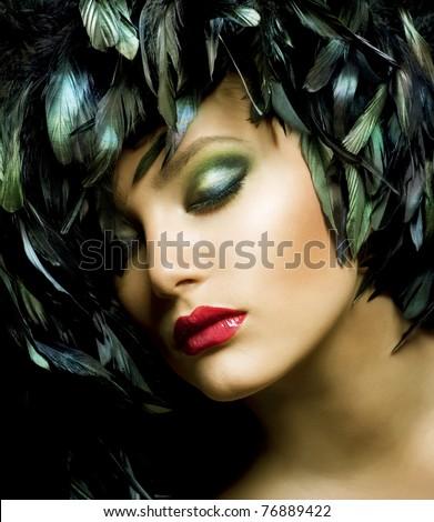 Fashion Art Portrait .Makeup - stock photo