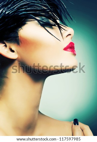 Fashion Art Portrait Of Beautiful Girl. Vogue Style Woman - stock photo
