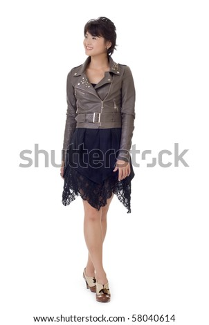 Fashion Asian beauty, full length portrait isolated on white background. - stock photo