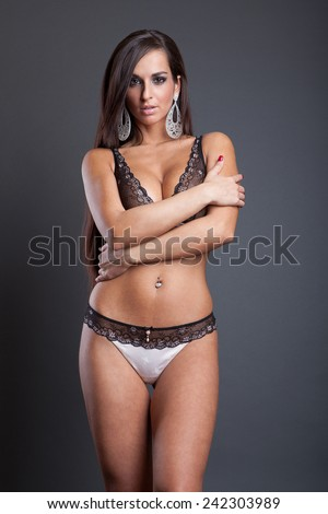 fashion attractive girl in sexy lace lingerie - stock photo