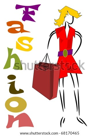 Fashion background, a woman goes shopping