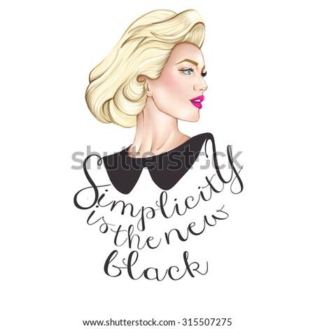 fashion background illustration - portrait of blonde elegant woman  - stock photo