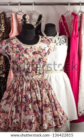 Fashion beautiful dress on a mannequin - stock photo