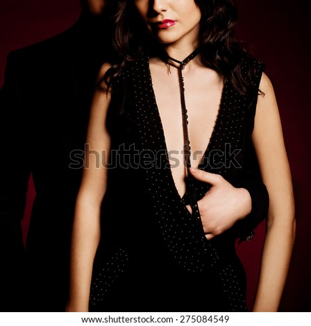 Fashion beautiful photo of man and woman - stock photo