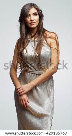 Fashion beautiful woman portrait. Female young model. Isolated , gray background . Fashion model studio poses. - stock photo
