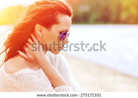Fashion beautiful woman portrait in sunglasses - stock photo