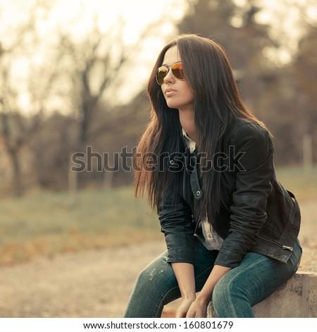Fashion beautiful woman portrait wearing sunglasses - stock photo