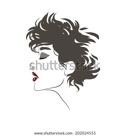 Fashion beautiful women face, hand drawn line illustration, isolated on white.