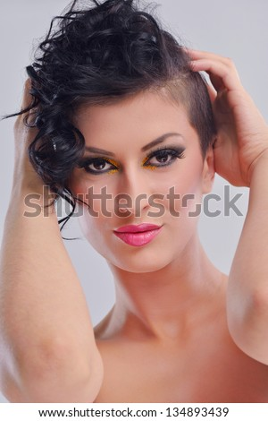 Fashion Beauty. Beautiful Woman With hairsyle  and Luxury Makeup isolated on white background nn studio . Beautiful Girl Face