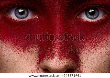 Fashion beauty dark red makeup on face of female model - stock photo