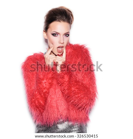 Fashion Beauty Girl. Gorgeous Woman Portrait. Stylish Haircut and Makeup. Hairstyle. Make up. Vogue Style. Sexy Glamour Girl on White background no isolated - stock photo