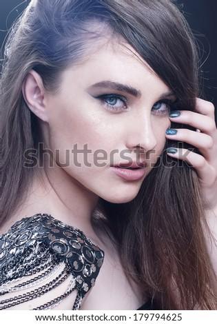 Fashion beauty girl portrait with make-up. Rocker style. - stock photo