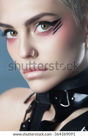 Fashion Beauty Girl. Stylish Haircut and Makeup. Hairstyle. Make up. Sexy Glamour Girl - stock photo