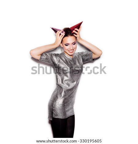 Fashion Beauty Girl with Horns. Woman Portrait. Stylish Haircut and Makeup. Vogue Style. Close-up of Sexy Glamour Girl on White background no isolated - stock photo