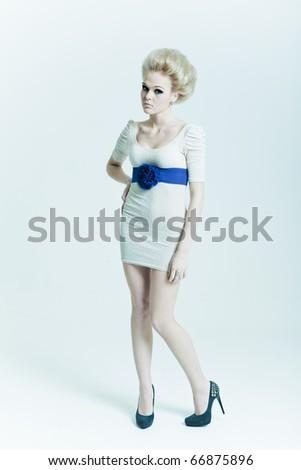 Fashion beauty in a dress - stock photo