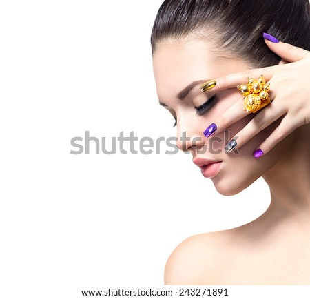 Fashion Beauty. Manicure and Make-up. Nail art. Beautiful Woman With Colorful Nails and Luxury Makeup. Beautiful Girl Face and Hand. Isolated on white background - stock photo