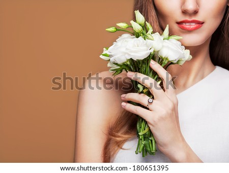 Fashion Beauty Model Girl with Flowers  - stock photo