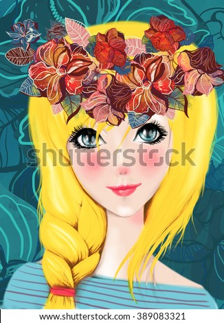 Fashion beauty nature girl with  flowers in her hair  - stock photo