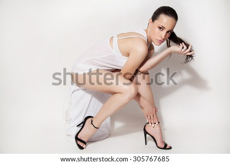 fashion beauty portrait, full body, studio white background