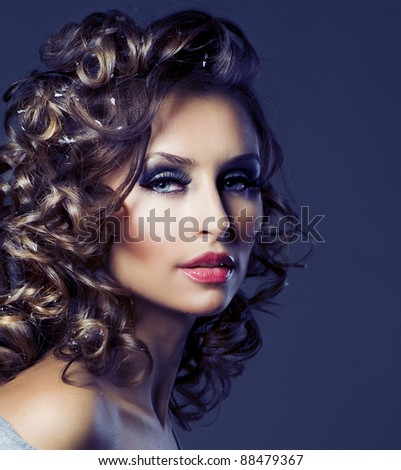 Fashion Beauty Portrait. Healthy Hair. Hairstyle. Holiday Makeup - stock photo