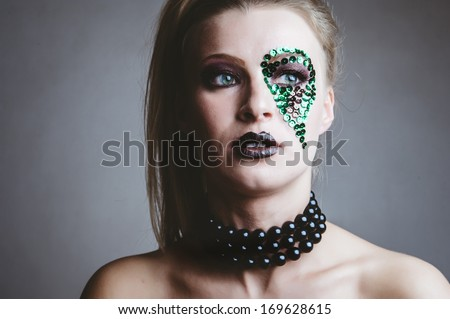 fashion beauty portrait of sexy woman with creative art make-up