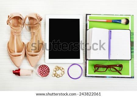 Fashion blogger concept. Still life of fashion creative space - stock photo