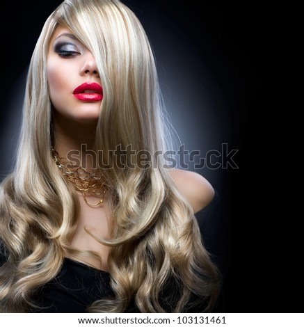 Fashion Blond Girl Portrait - stock photo