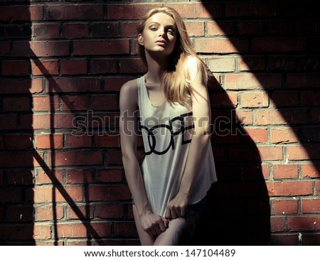 Fashion blond woman - stock photo