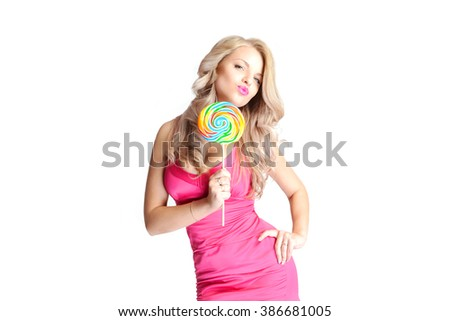 Fashion blond woman holding lollipop, posing against white background
