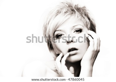 fashion blond woman on the white background