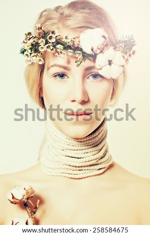 Fashion blond woman with beautiful makeup and healthy hair, sweet day concept - stock photo