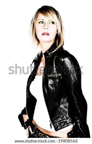 Fashion Blonde in Leather Jacket - stock photo